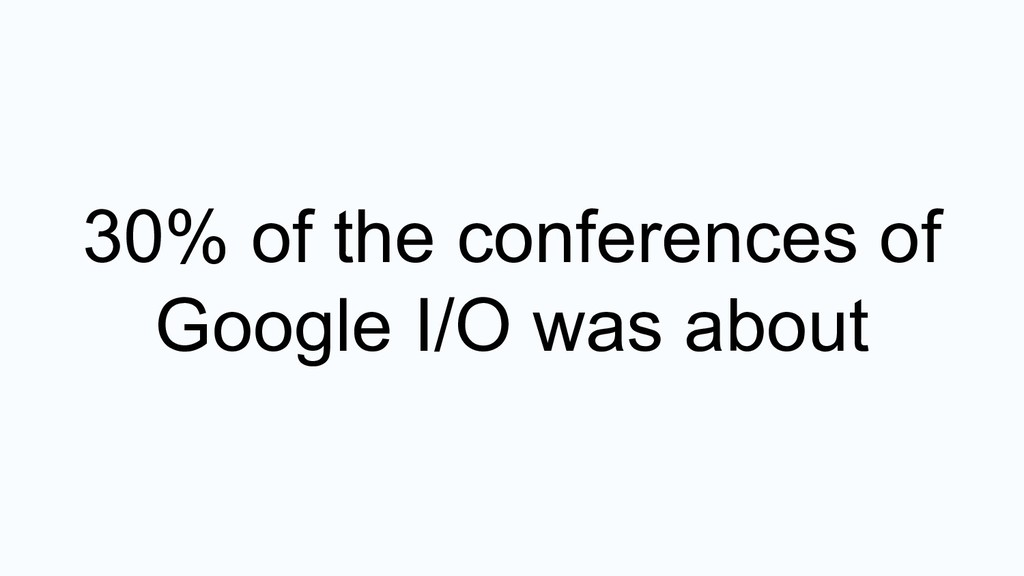 30% of the conferences of Google I/O was about