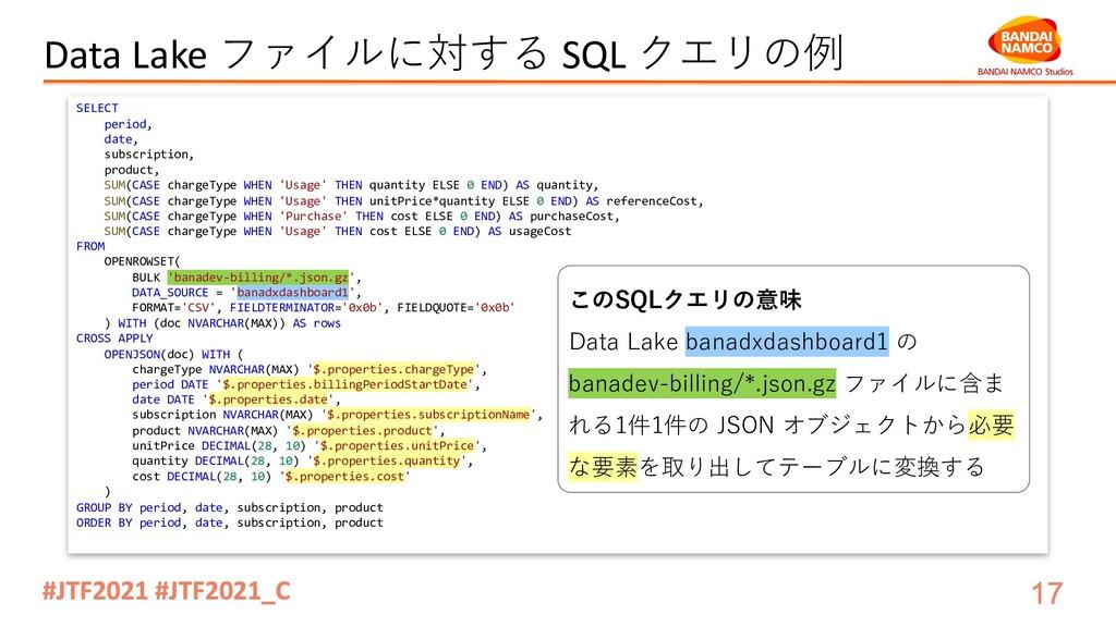 Data Lake ファイルに対する SQL クエリの例 SELECT period, dat...