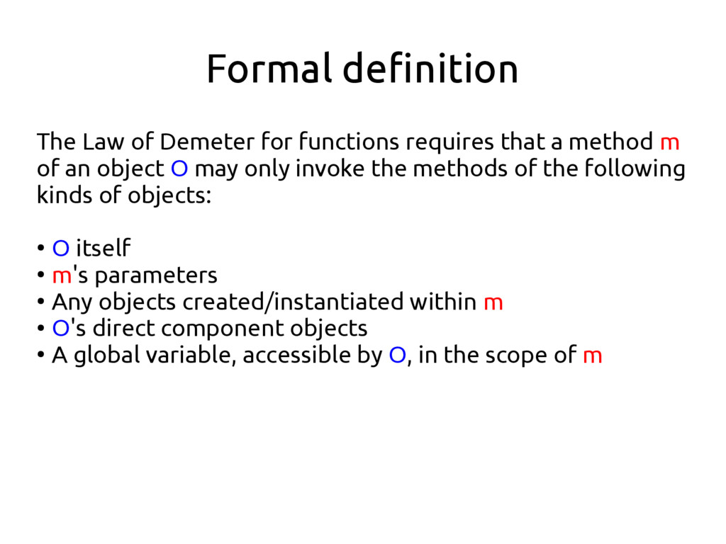 Formal definition The Law of Demeter for functi...