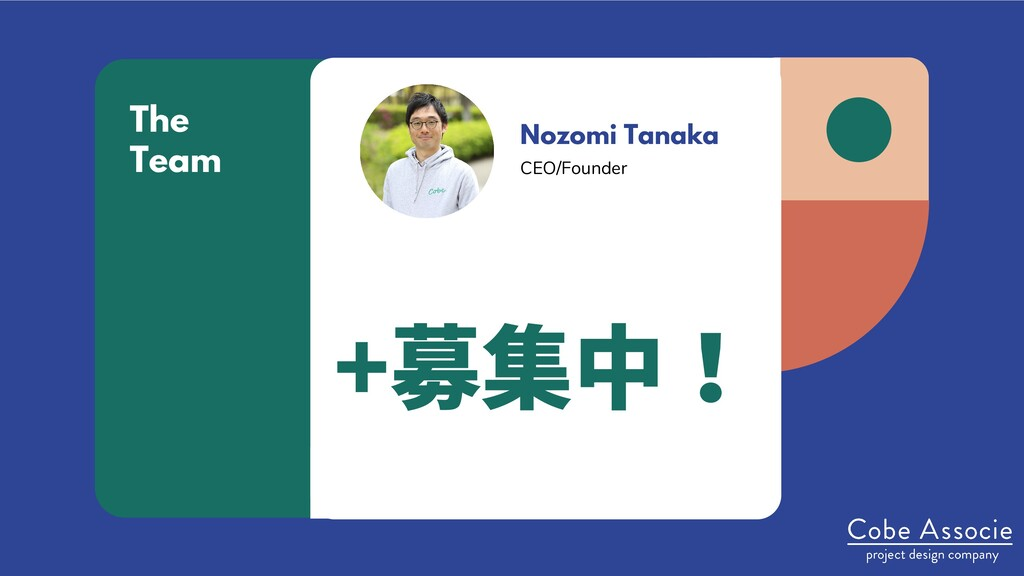 Nozomi Tanaka CEO/Founder The Team +募集中!