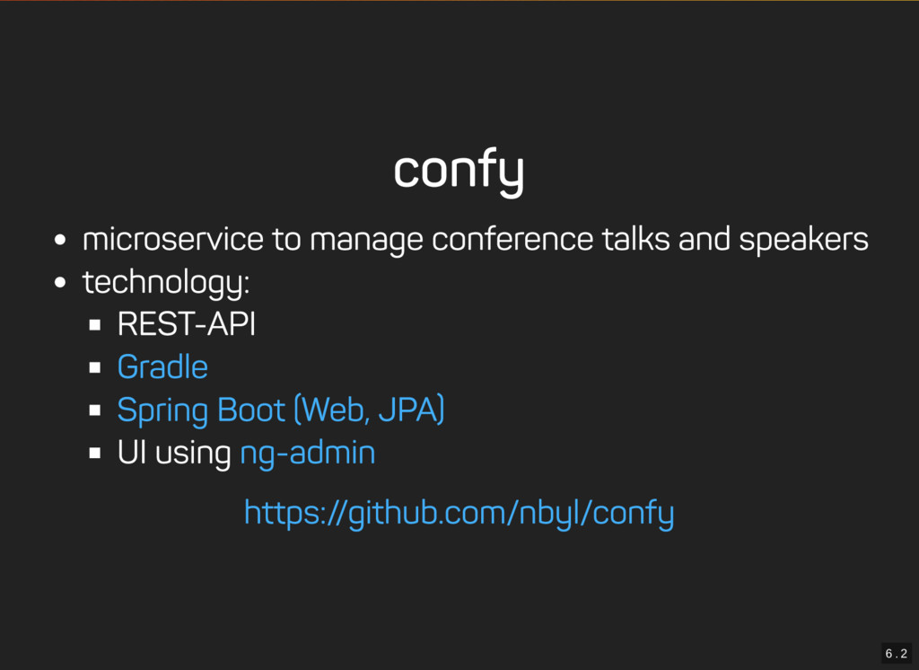 6 . 2 confy microservice to manage conference t...