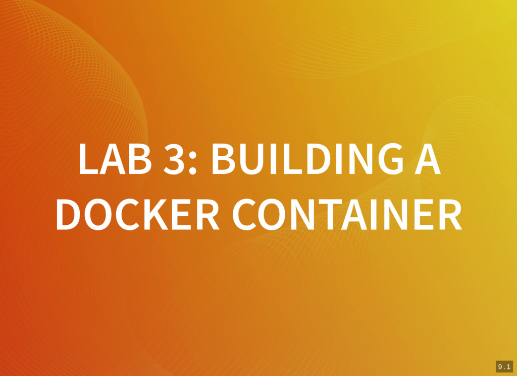 8 . 9 9 . 1 LAB 3: BUILDING A DOCKER CONTAINER