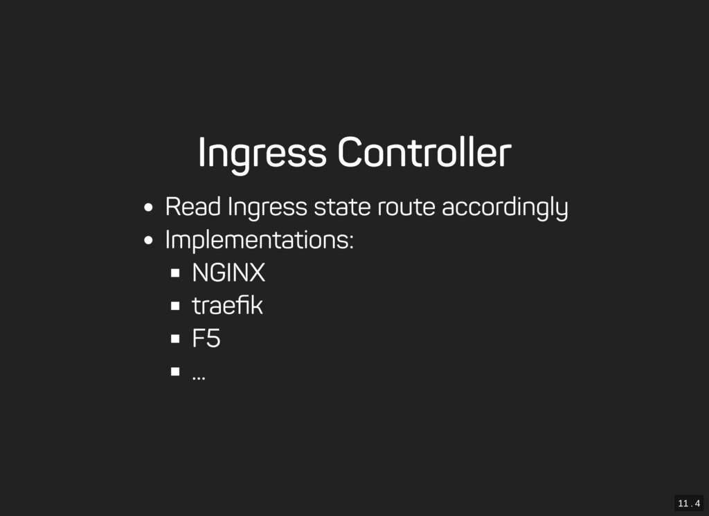 11 . 4 Ingress Controller Read Ingress state ro...
