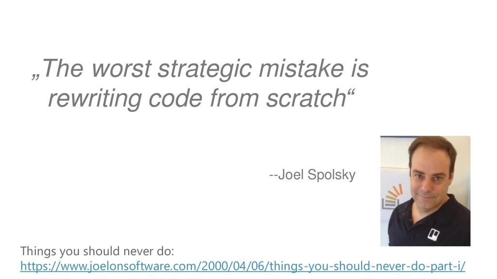 --Joel Spolsky Things you should never do: http...