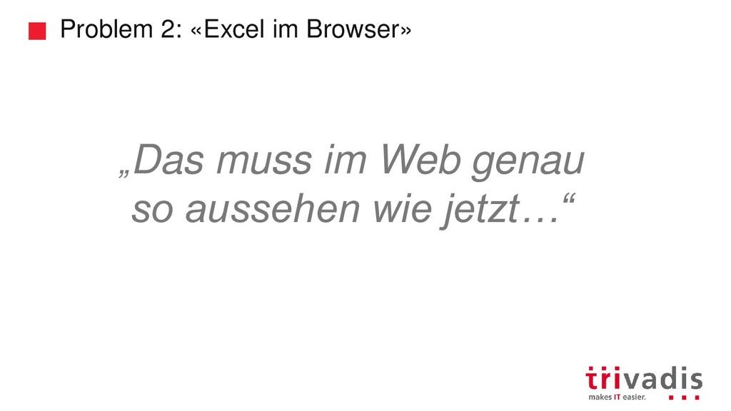 """Problem 2: «Excel im Browser» """"Das muss im Web ..."""