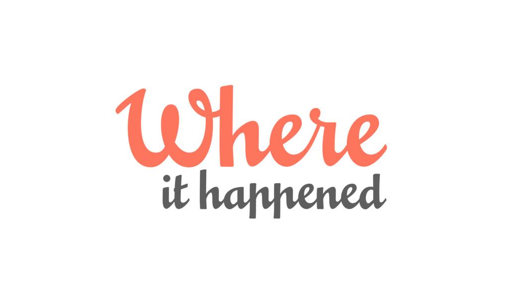 Where it happened