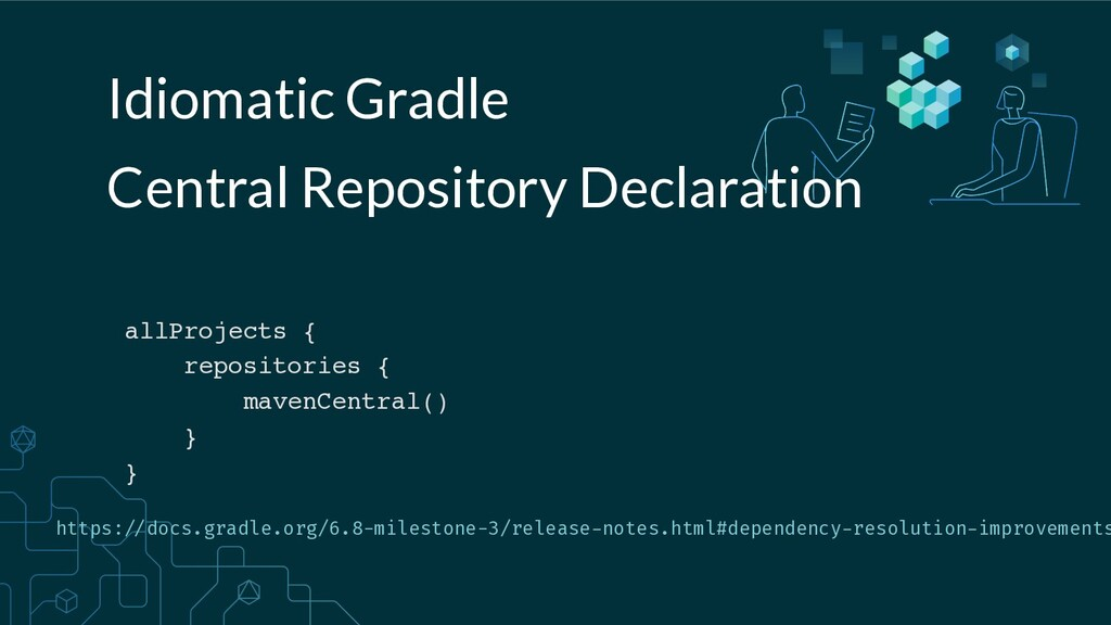 Idiomatic Gradle allProjects { repositories { m...