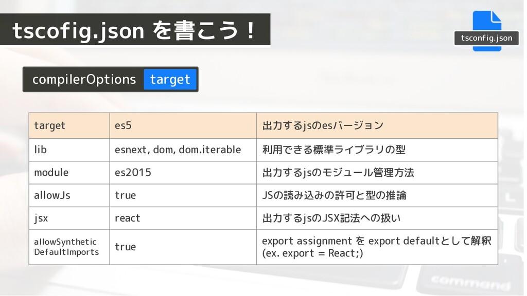 compilerOptions target target es5 出力するjsのesバージョ...