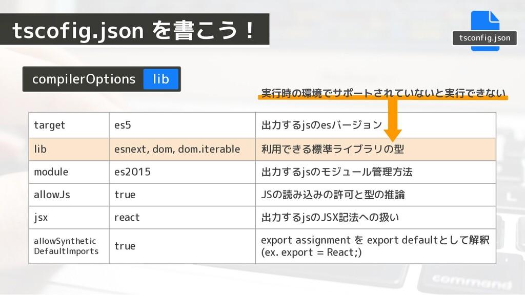 compilerOptions lib target es5 出力するjsのesバージョン l...