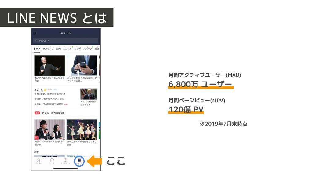 LINE NEWS とは ここ 月間アクティブユーザー(MAU) 6,800万 ユーザー 月間...