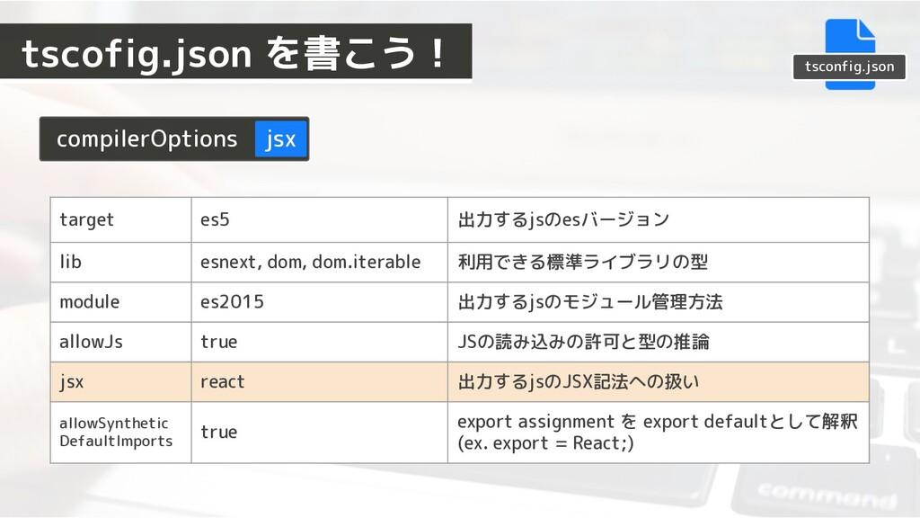 tsconfig.json compilerOptions jsx target es5 出力...