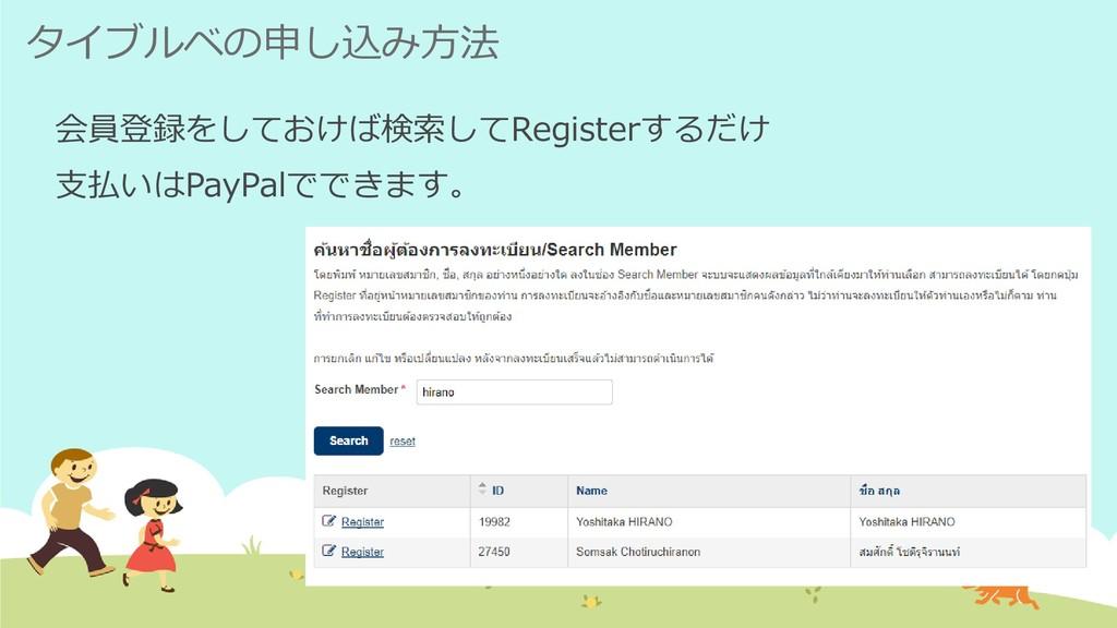 タイブルベの申し込み方法 会員登録をしておけば検索してRegisterするだけ 支払いはPay...
