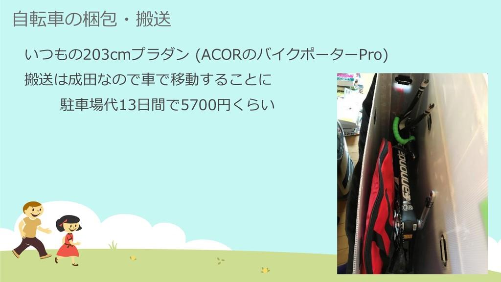 自転車の梱包・搬送 いつもの203cmプラダン (ACORのバイクポーターPro) 搬送は成田...