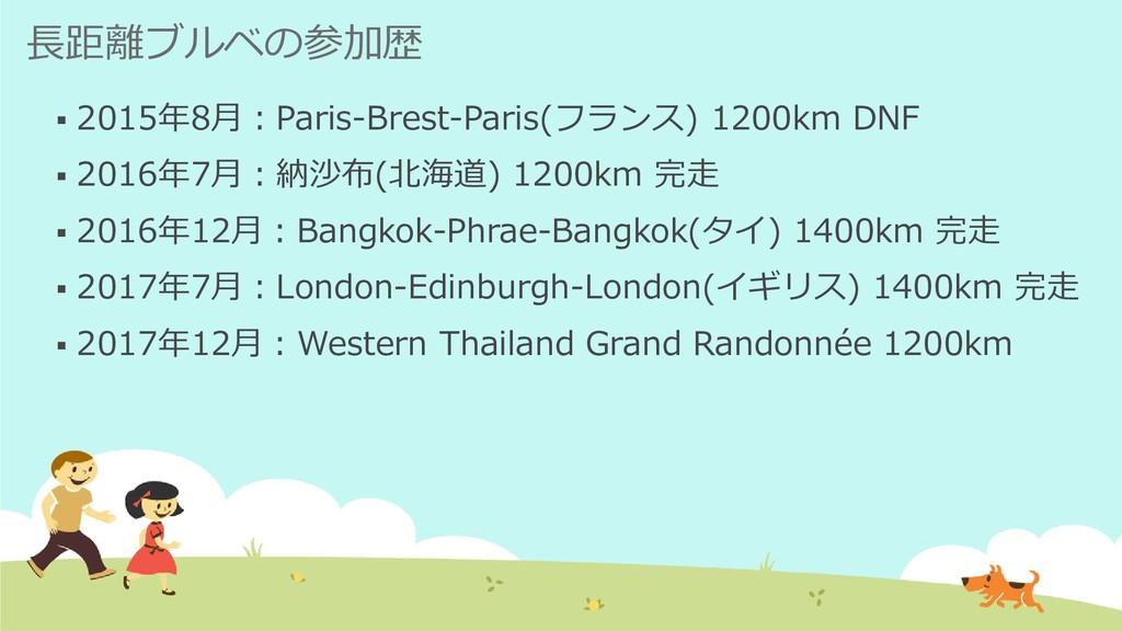 長距離ブルベの参加歴 ▪ 2015年8月:Paris-Brest-Paris(フランス) 12...