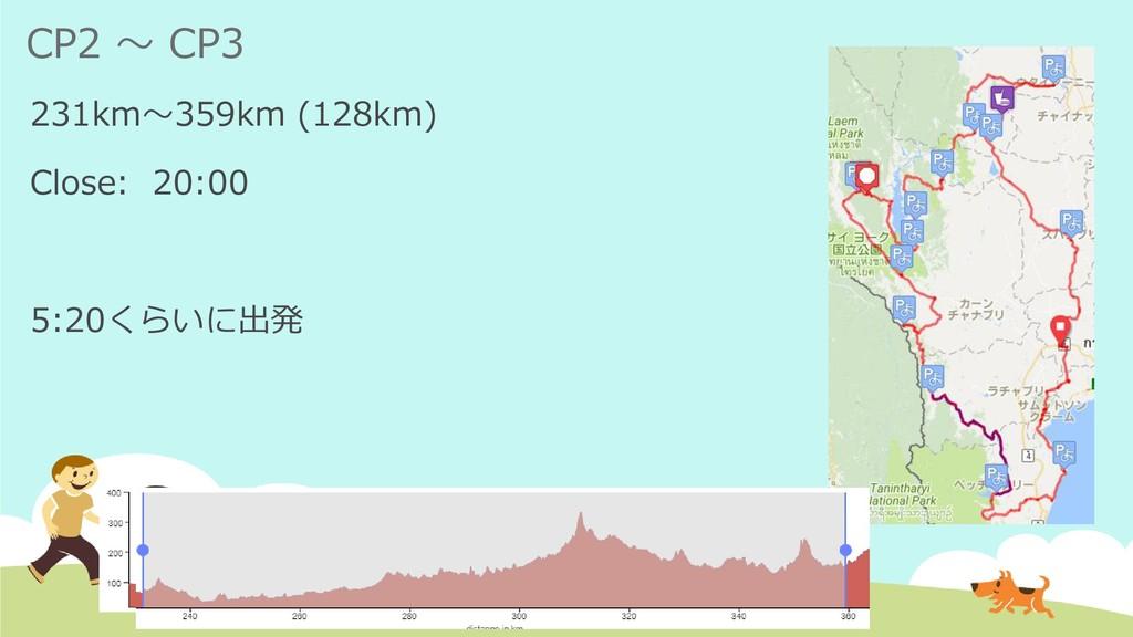CP2 ~ CP3 231km~359km (128km) Close: 20:00 5:20...