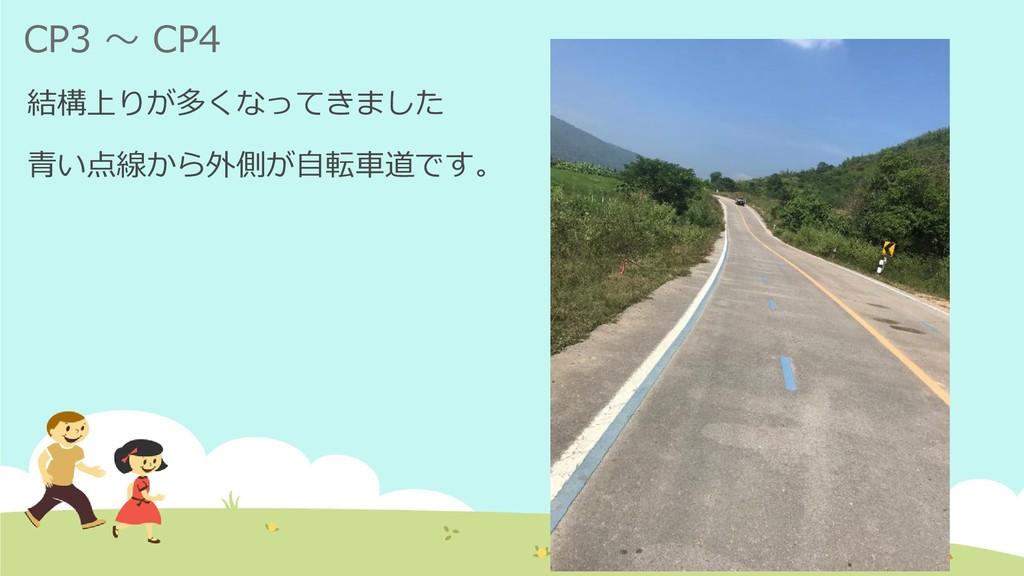 CP3 ~ CP4 結構上りが多くなってきました 青い点線から外側が自転車道です。