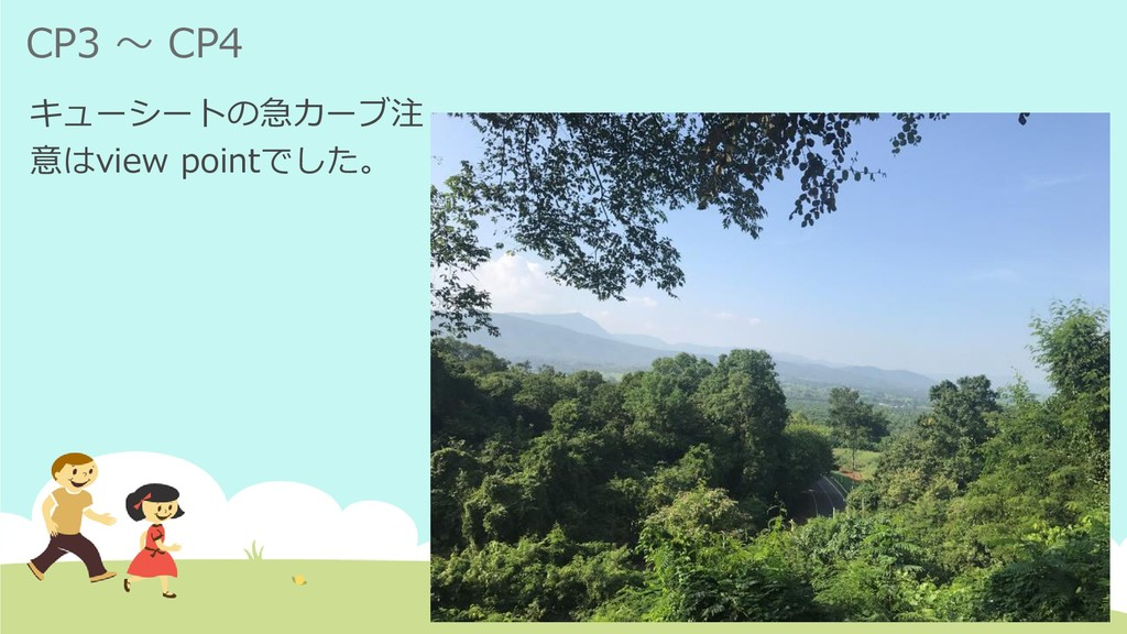 CP3 ~ CP4 キューシートの急カーブ注 意はview pointでした。