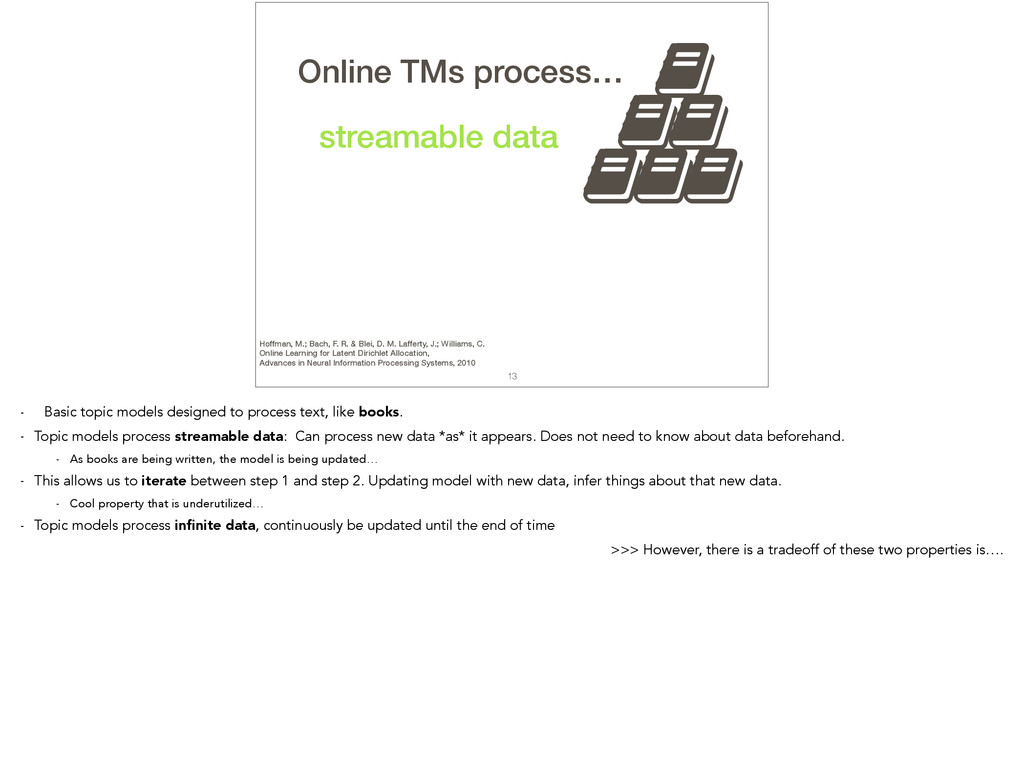 , 13 TMs process… streamable data , , , , , Onl...