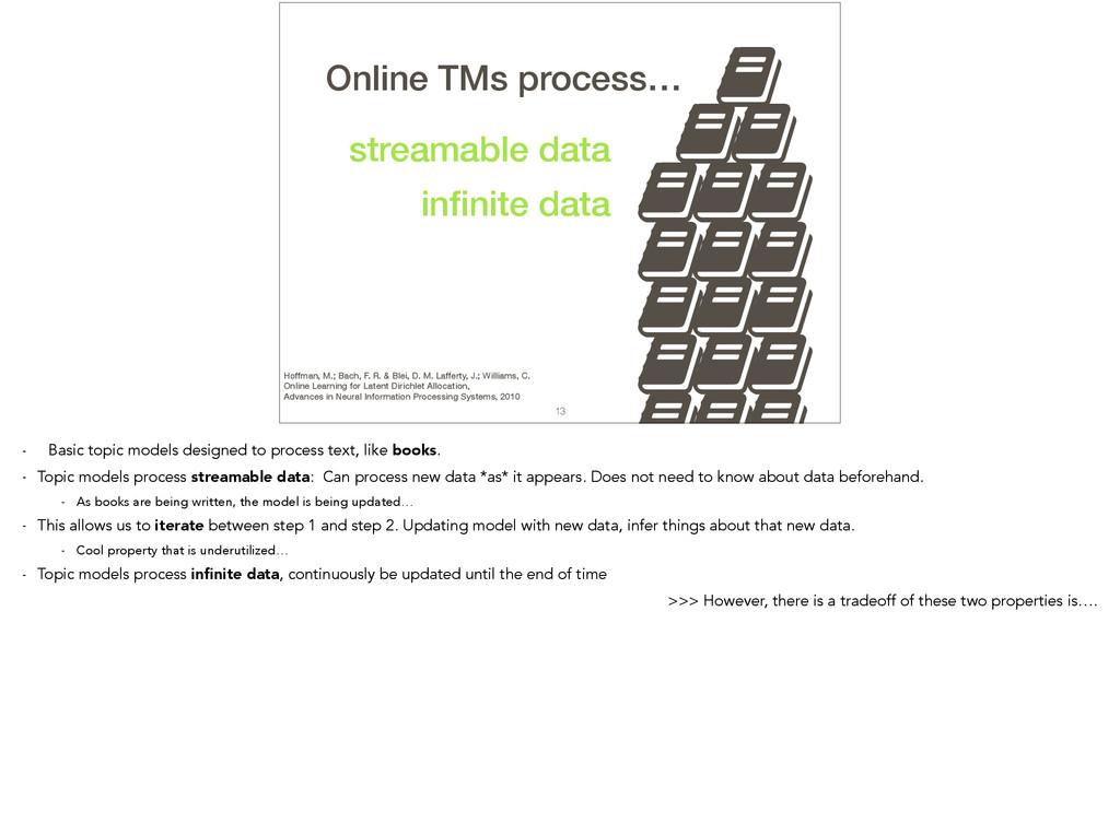 , 13 TMs process… streamable data infinite data ...