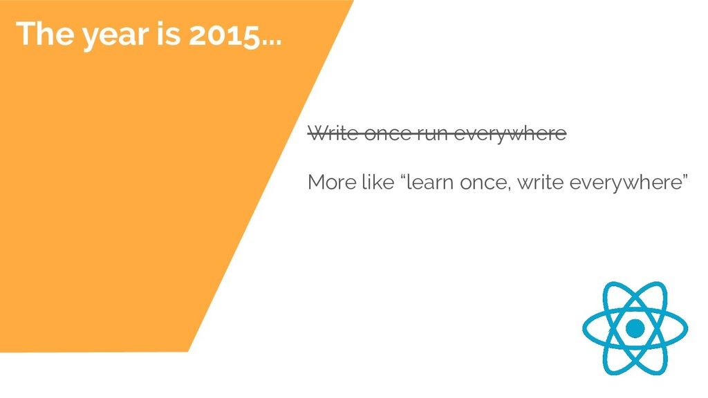 The year is 2015... Write once run everywhere M...