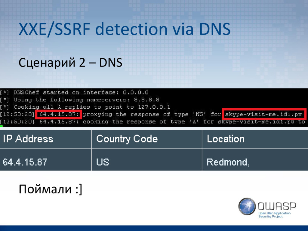 XXE/SSRF detection via DNS Сценарий 2 – DNS Пой...