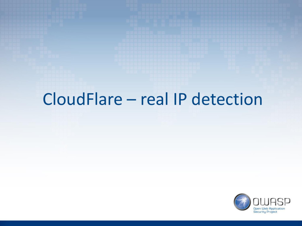CloudFlare – real IP detection