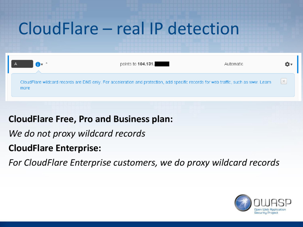 CloudFlare – real IP detection CloudFlare Free,...