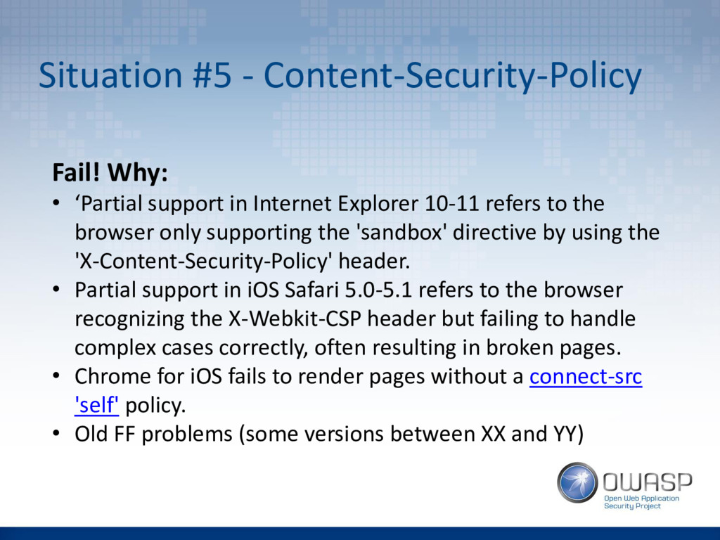 Situation #5 - Content-Security-Policy Fail! Wh...