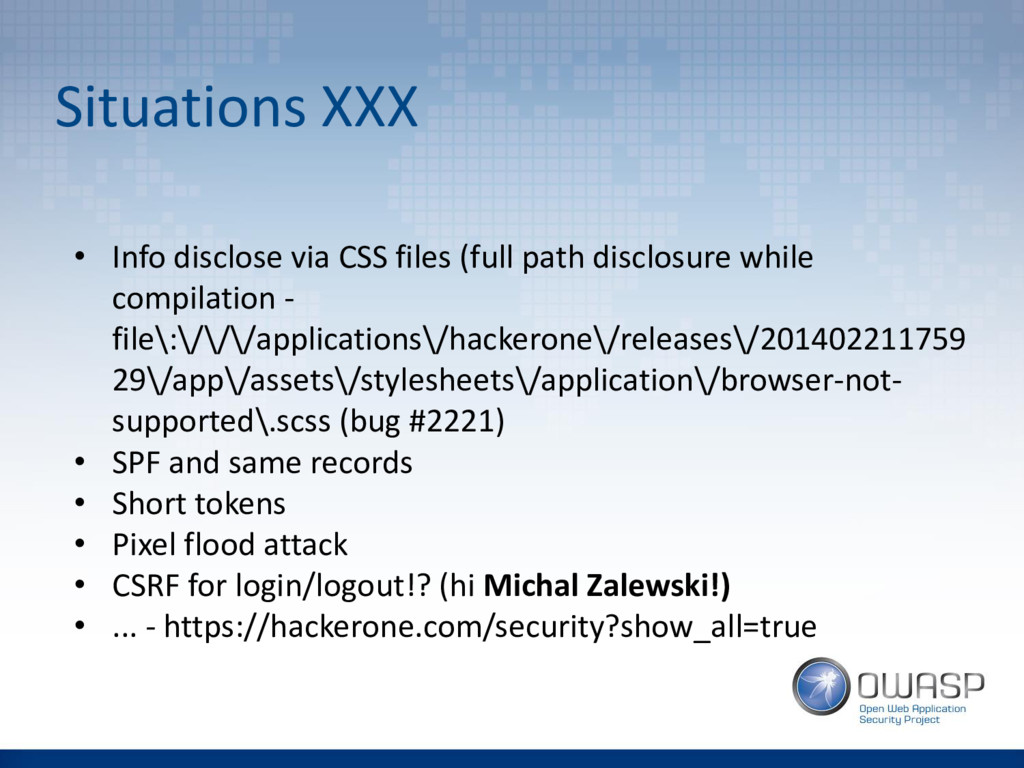 Situations XXX • Info disclose via CSS files (f...