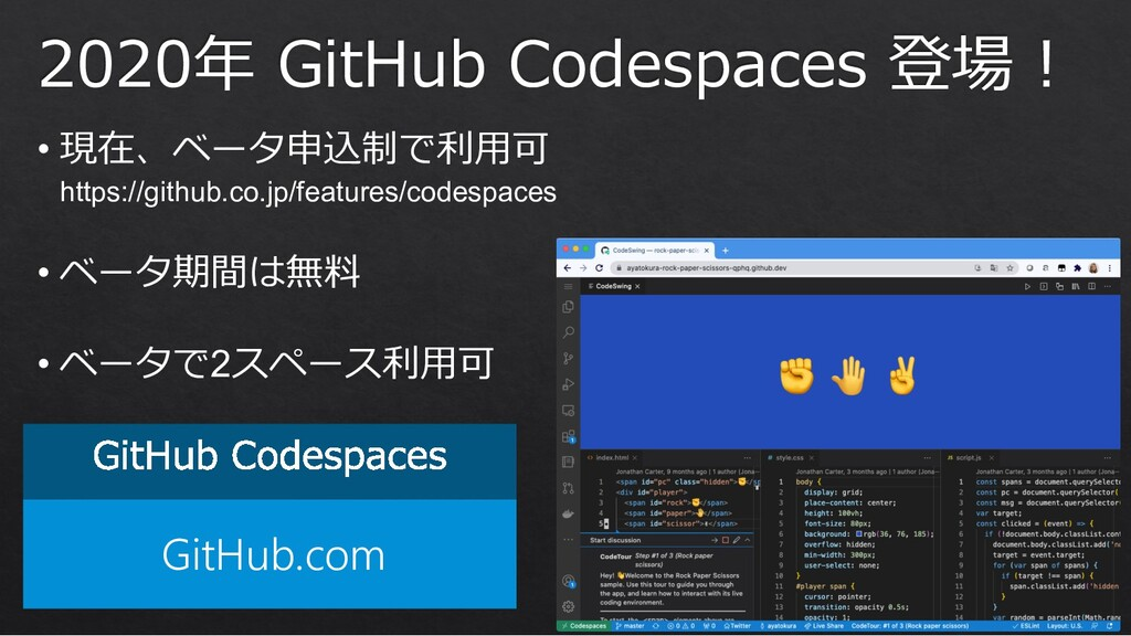 GitHub.com 2020年 GitHub Codespaces 登場︕ • 現在、ベータ...