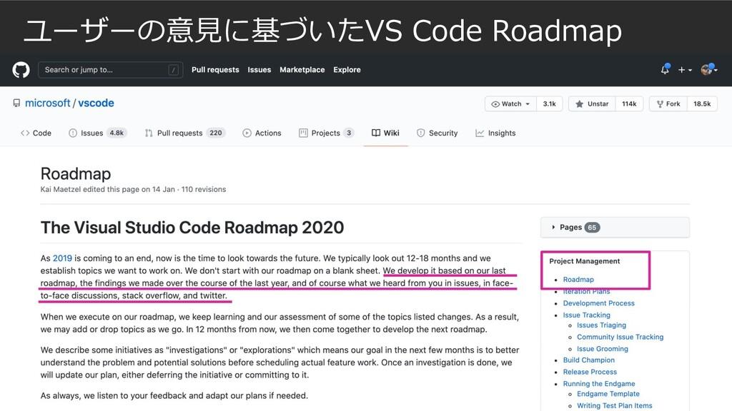 ユーザーの意⾒に基づいたVS Code Roadmap
