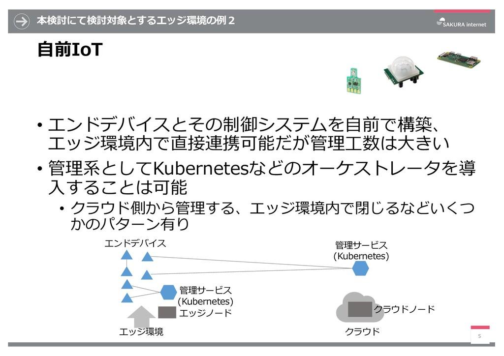 本検討にて検討対象とするエッジ環境の例2 ⾃前IoT • エンドデバイスとその制御システムを⾃...