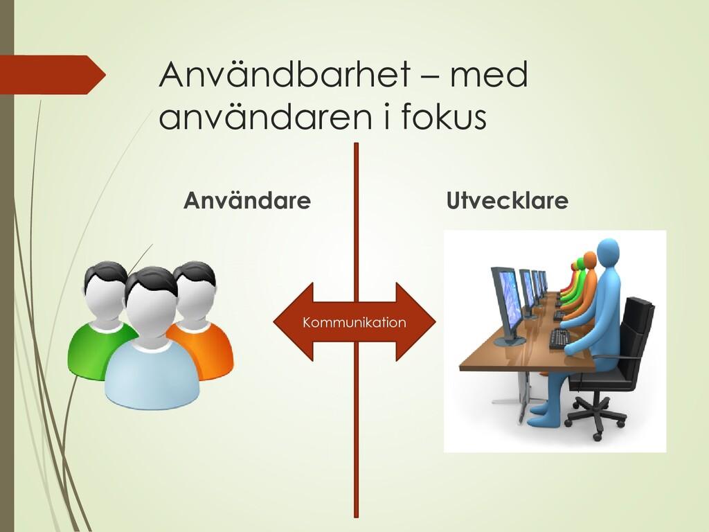 Användbarhet – med användaren i fokus Användare...