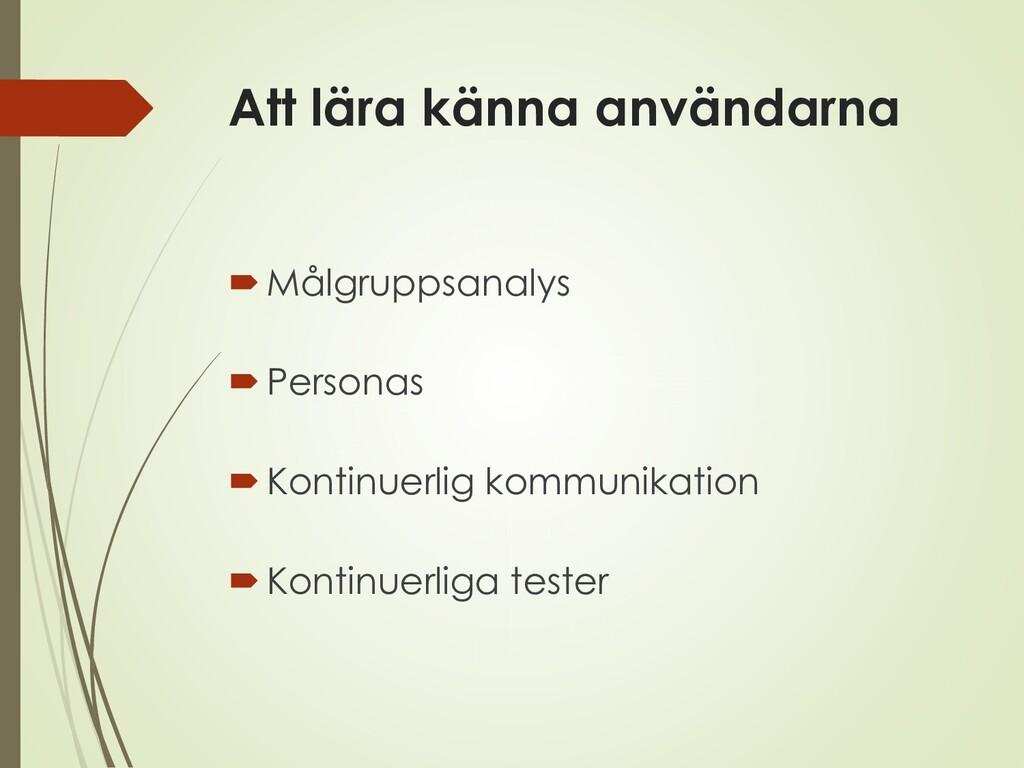 Att lära känna användarna Målgruppsanalys Per...