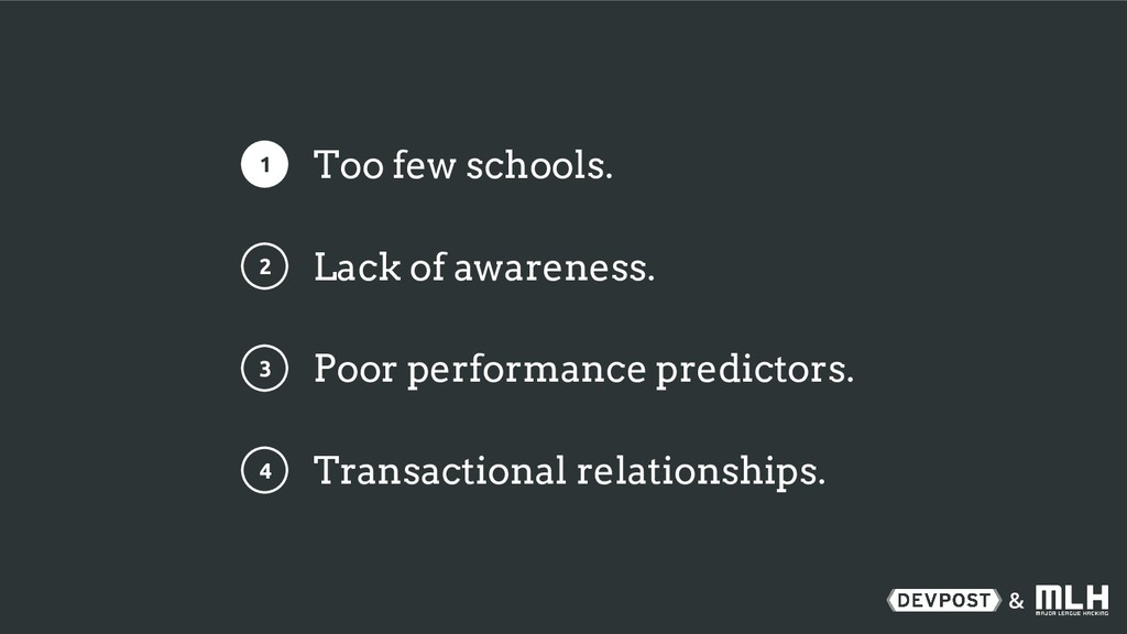 & 1 2 3 4 Too few schools. Lack of awareness. P...