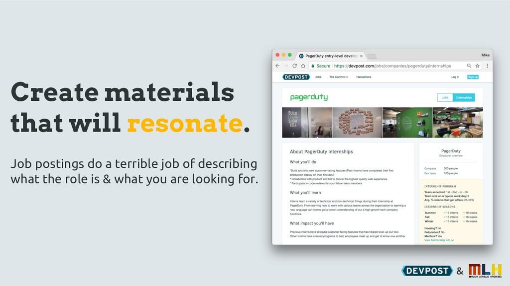 & Create materials that will resonate. Job post...