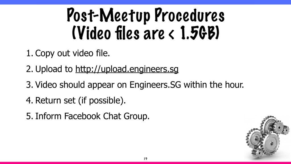 Post-Meetup Procedures  (Video files are < 1.5G...
