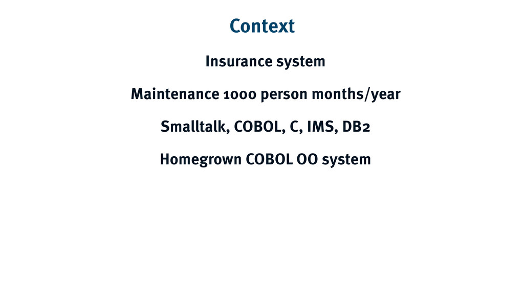 Context Insurance system Maintenance 1000 perso...