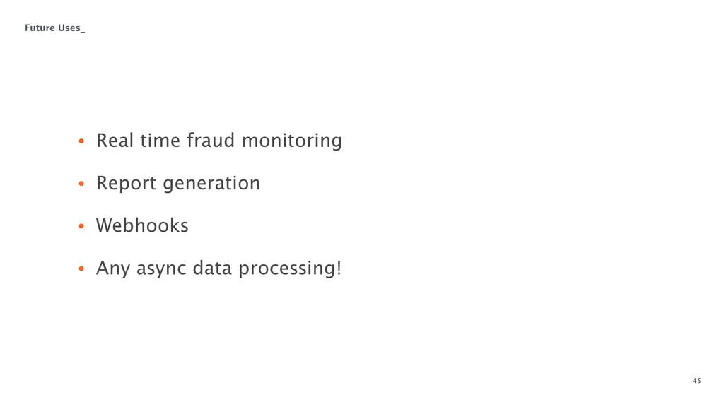 45 • Real time fraud monitoring • Report gener...