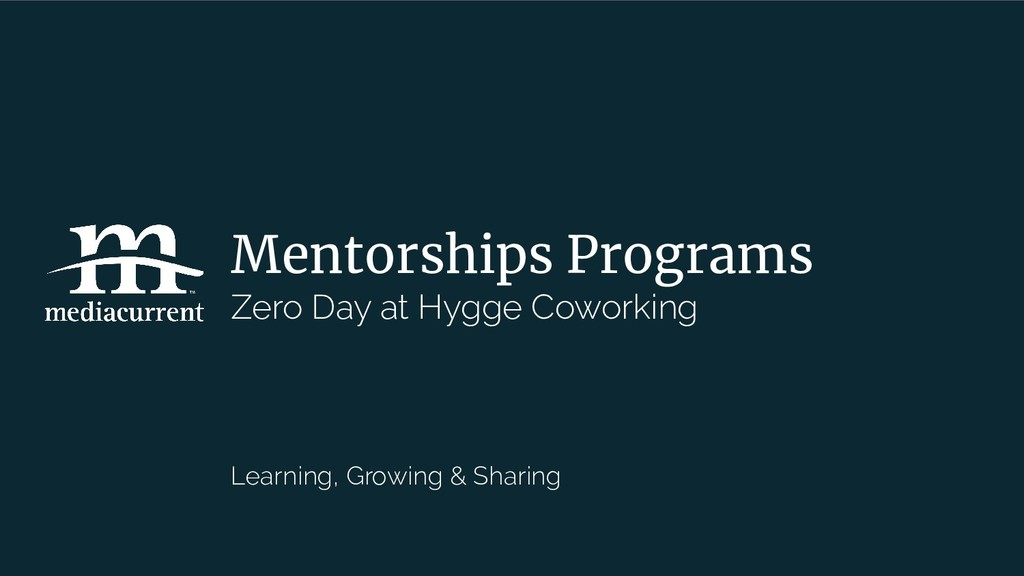 Mentorships Programs Zero Day at Hygge Coworkin...