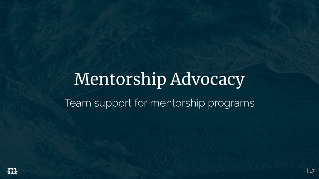 | 17 Mentorship Advocacy Team support for mento...