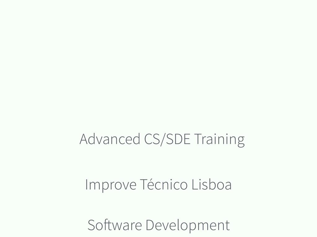 Software Development Advanced CS/SDE Training I...