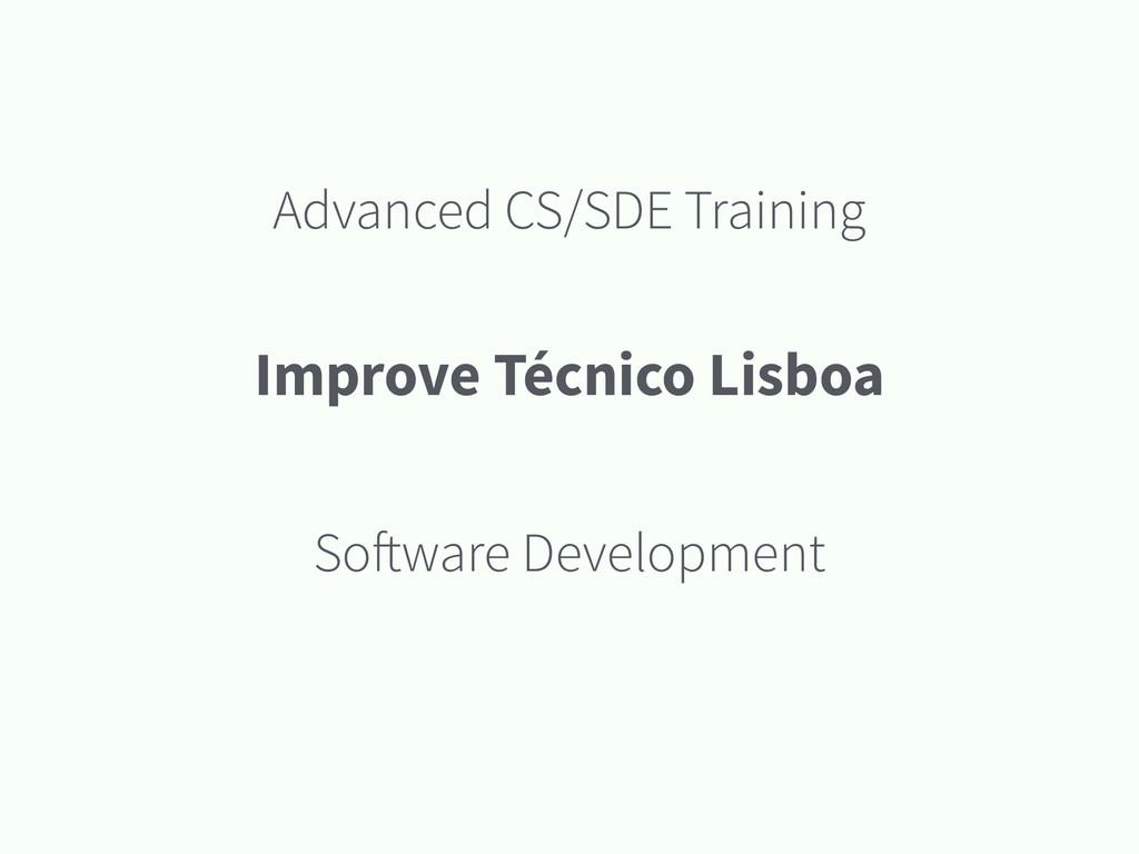 Advanced CS/SDE Training Software Development I...