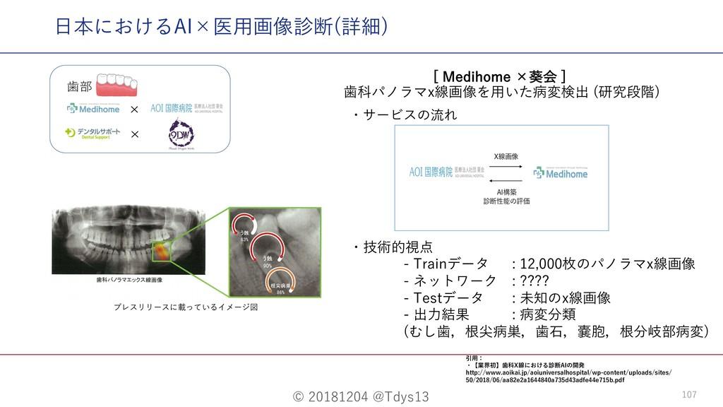 © 20181204 @Tdys13 107 ⽇本におけるAI×医⽤画像診断(詳細) <.F...