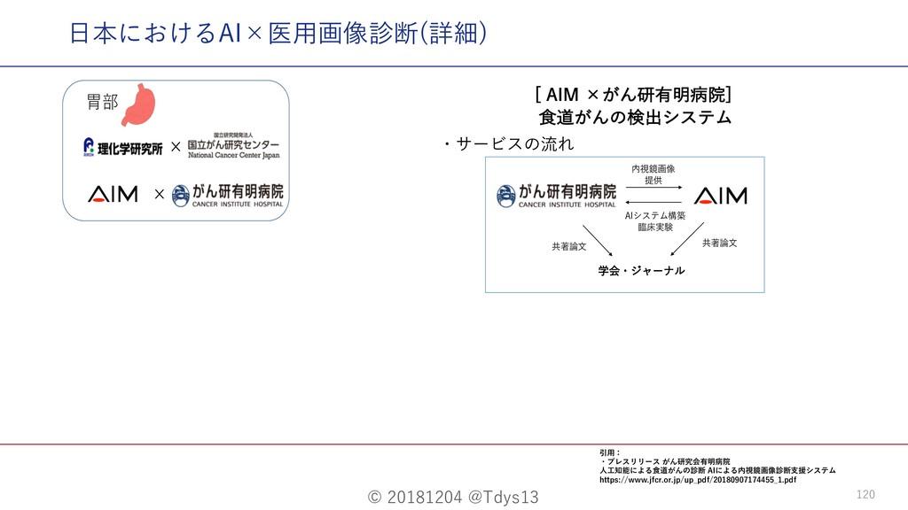 "© 20181204 @Tdys13 120 ⽇本におけるAI×医⽤画像診断(詳細) <""*..."