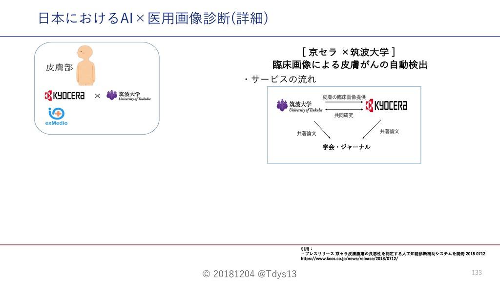 © 20181204 @Tdys13 133 ⽇本におけるAI×医⽤画像診断(詳細) ・サービ...