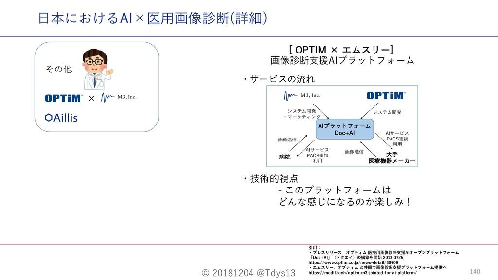 © 20181204 @Tdys13 140 ⽇本におけるAI×医⽤画像診断(詳細) <01...