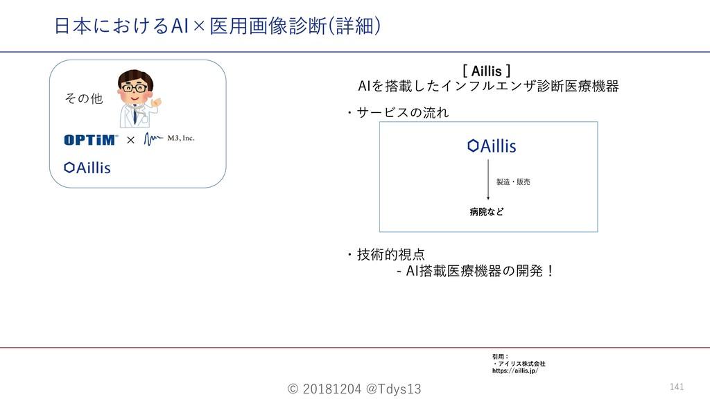 "© 20181204 @Tdys13 141 ⽇本におけるAI×医⽤画像診断(詳細) <""J..."
