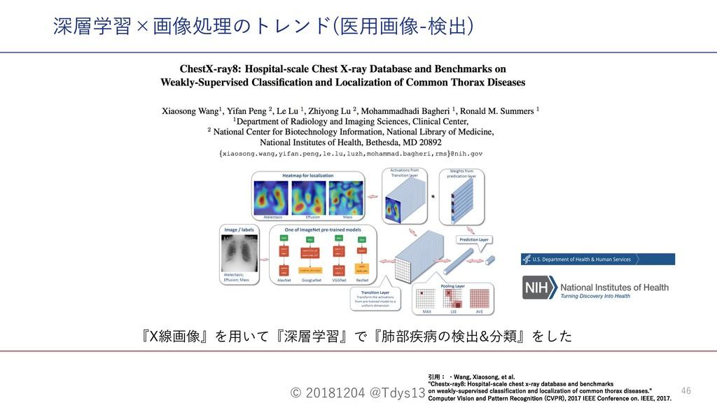 © 20181204 @Tdys13 46 『X線画像』を⽤いて『深層学習』で『肺部疾病の検出...