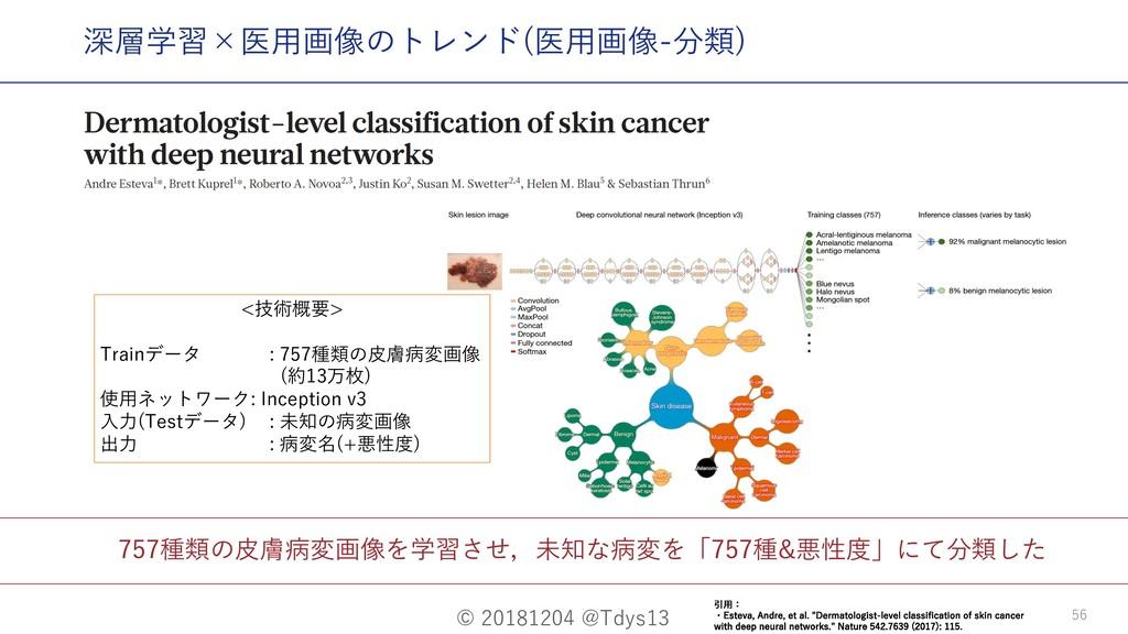 © 20181204 @Tdys13 56 757種類の⽪膚病変画像を学習させ,未知な病変を「...